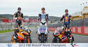 Чемпионы MotoGP 2012. Марк Маркес, Хорхе Лоренцо и Сандро Кортезе