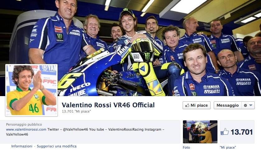 Валентино Росси открыл страничку в facebook