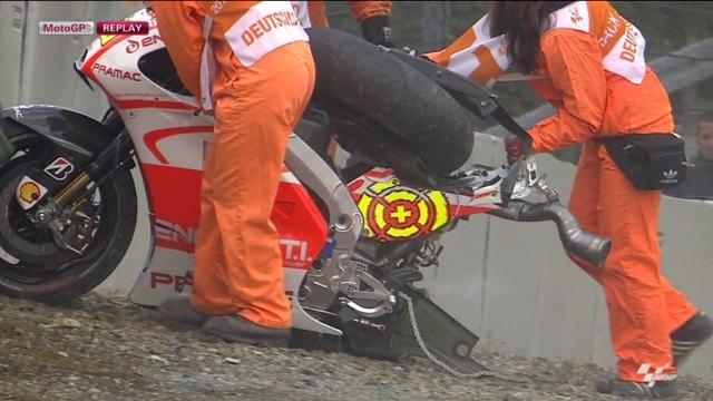 Падение Андреа Ианноне на первой практике Гран-При Германии 2013