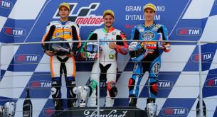 Подиум Moto3 Гран-При Италии 2014: Фенати, Виньялес, Ринс