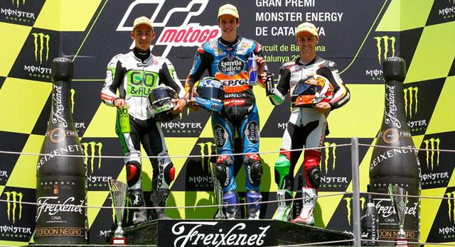 Подиум Moto3 Гран-При Каталонии 2014: Васкес, Маркес, Бастианини