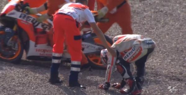 Падение Марка Маркеса на первой практике Гран-При Германии 2014