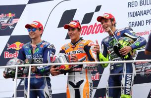 Маркес, Лоренцо, Росси, подиум MotoGP 2014