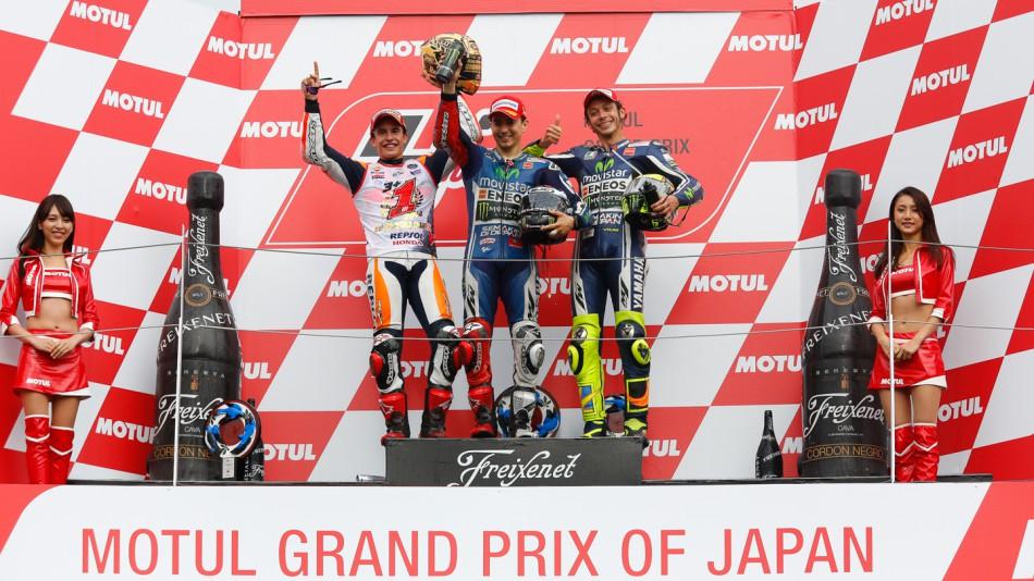 Подиум по итогам гонки MotoGP Гран-При Японии 2014