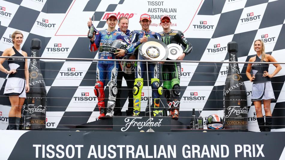 Победители гонки MotoGP Гран-При Австралии 2014: Лоренцо, Росси, Смит