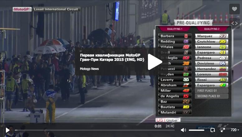 Первая квалификация MotoGP Гран-При Катара 2015
