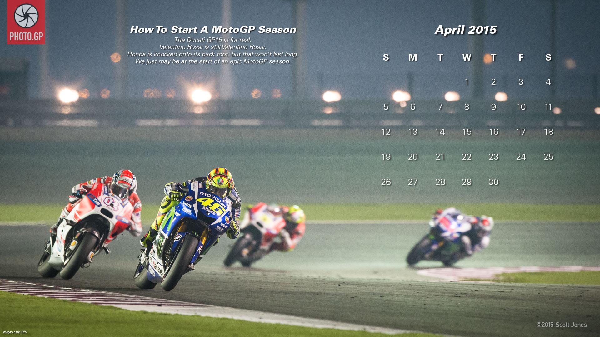 Календарь в стиле MotoGP на Апрель 2015 года от Скотта Джонса