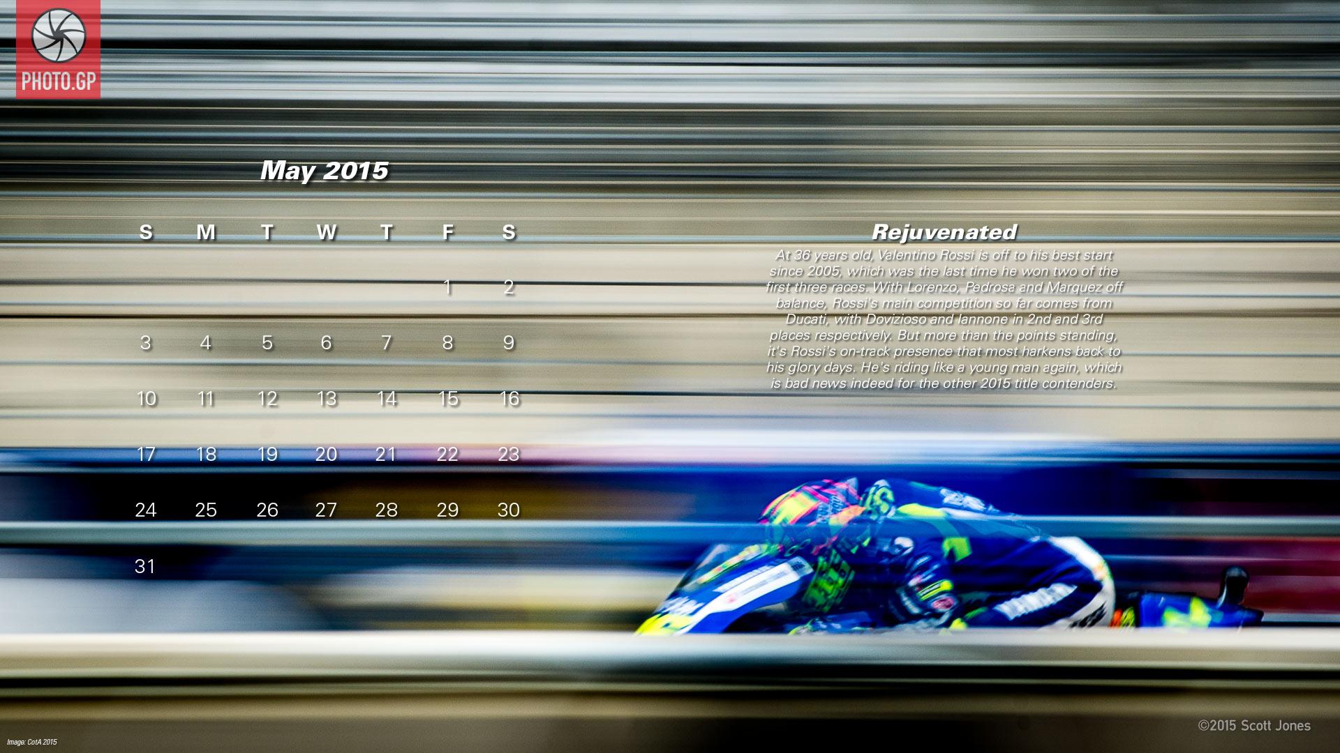 Календарь в стиле MotoGP на май 2015 года от фотографа Скотта Джонса