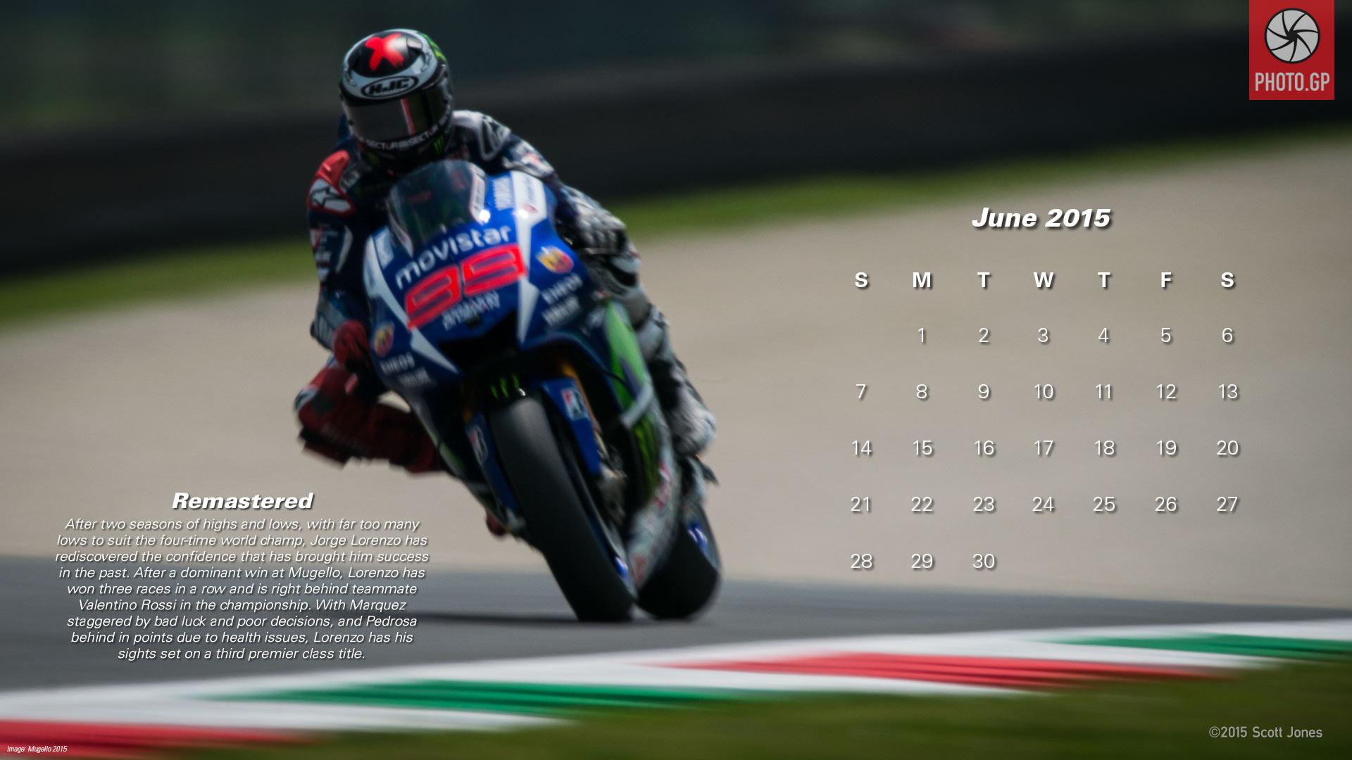 Календарь в стиле MotoGP на июнь 2015 года от фотографа Скотта Джонса