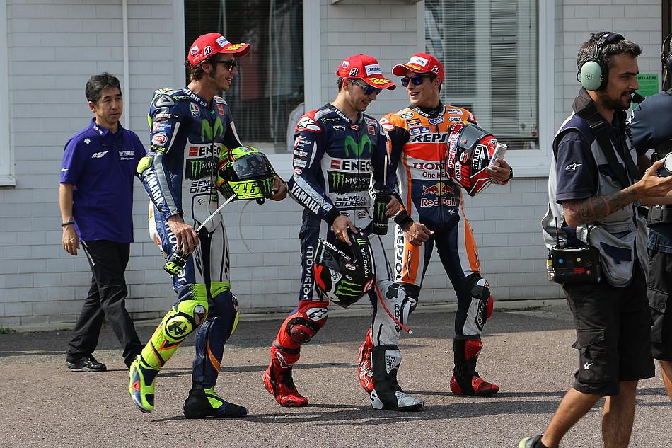 Валентино Росси, Марк Маркес, Хорхе Лоренцо. Гран-При Чехии, MotoGP 2015
