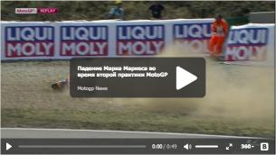 Видео падения Марка Маркеса во время FP2 Гран-При Чехии 2015