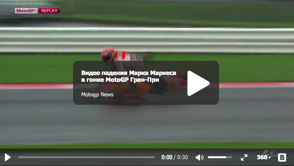 Видео падения Марка Маркеса в гонке MotoGP Гран-При Великобритании 2015