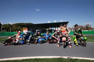 Мини-гонка на минибайках, звезды MotoGP