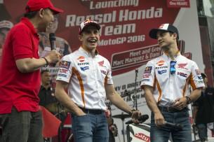 Педроса и Маркес (презентация Repsol Honda 2016)