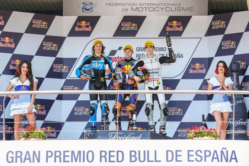 Брэд Биндер, Николо Булега и Франческо Баньяйя - подиум Гран-При Испании 2016