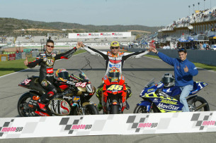 Poggiali, Rossi and Pedrosa, 2003 champions, Valencia MotoGP 2003