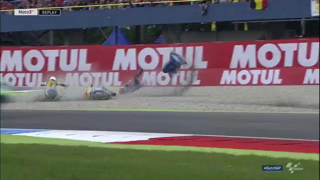 Гонка Moto3 Гран-При Нидерландов 2016 - аварии