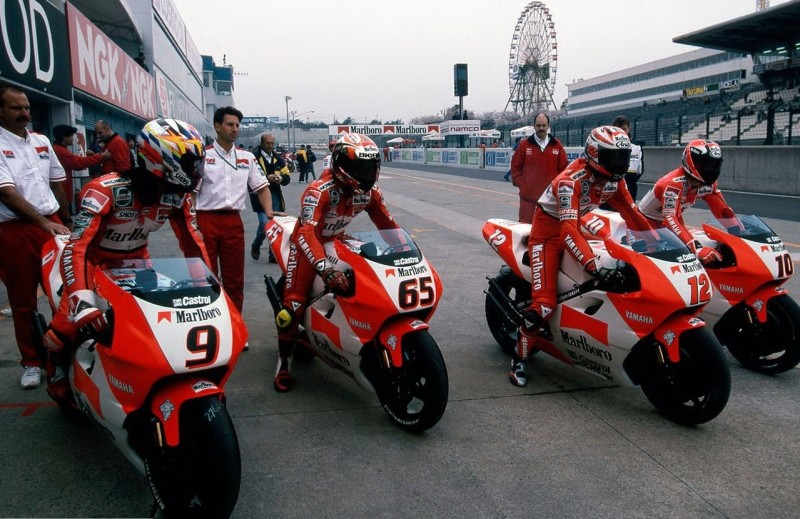 Пилоты Yamaha Marlboro 1996: Абе, Капиросси, Бэйль, Робертс