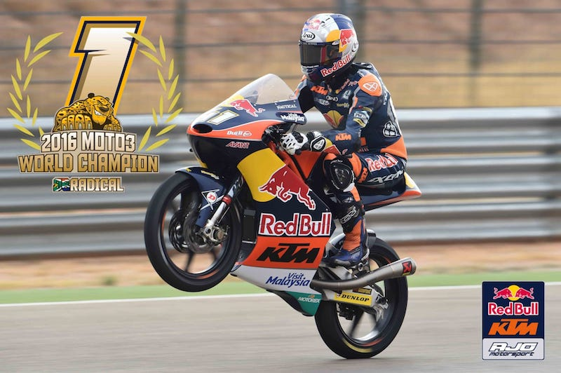 Брэд Биндер - чемпион мира Moto3 2016