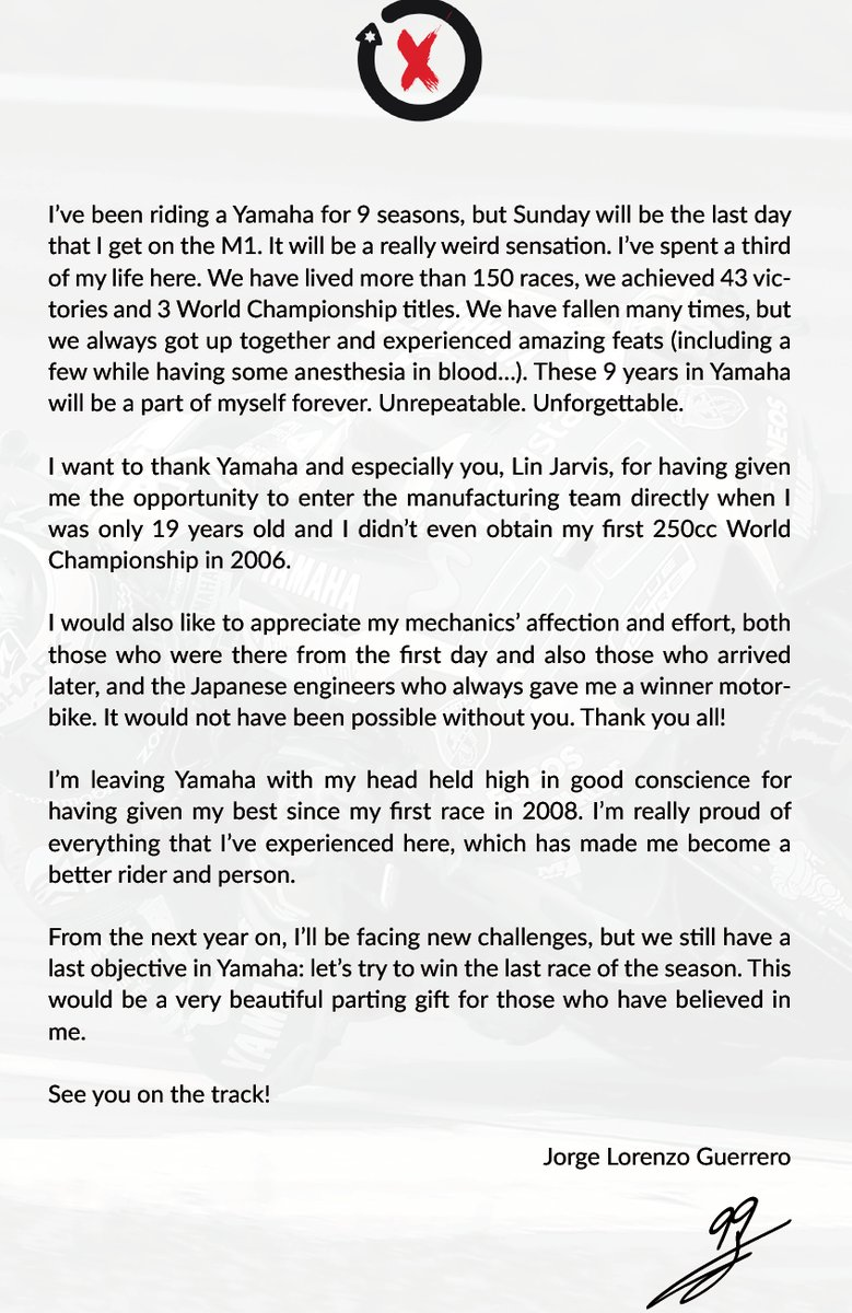 Прощальное письмо Хорхе Лоренсо для Yamaha