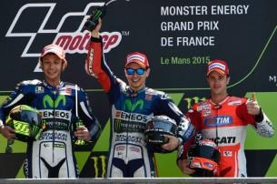 2015 : 1. Jorge Lorenzo, 2. Valentino Rossi, 3. Andrea Dovizioso