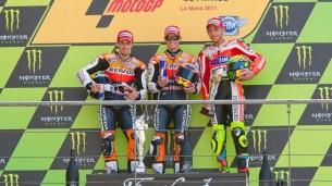 2011 : 1. Casey Stoner, 2. Andrea Dovizioso, 3. Valentino Rossi