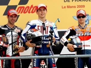 2009 : 1. Jorge Lorenzo, 2. Marco Melandri, 3. Dani Pedrosa