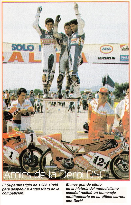 Анхель Ньето (в центре) на гонках Superprestigio 1986