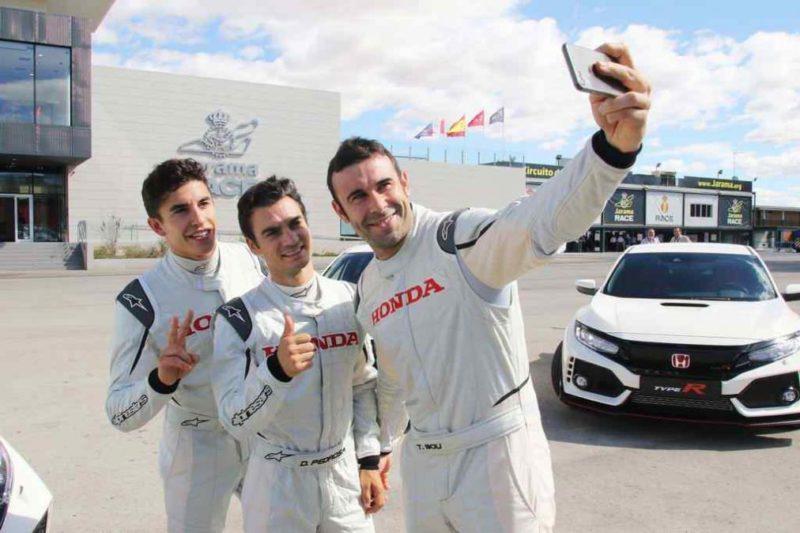 Маркес, Педроса и Боу на презентации Honda Civic Type R