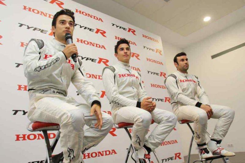 Педроса, Маркес и Боу на презентации Honda Civic Type R