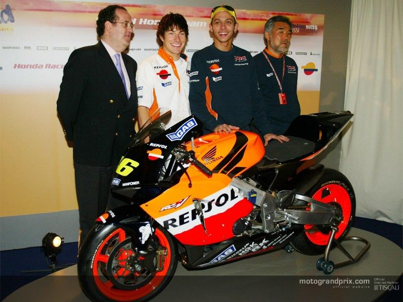 Хэйден и Росси на презентации Repsol Honda 2003