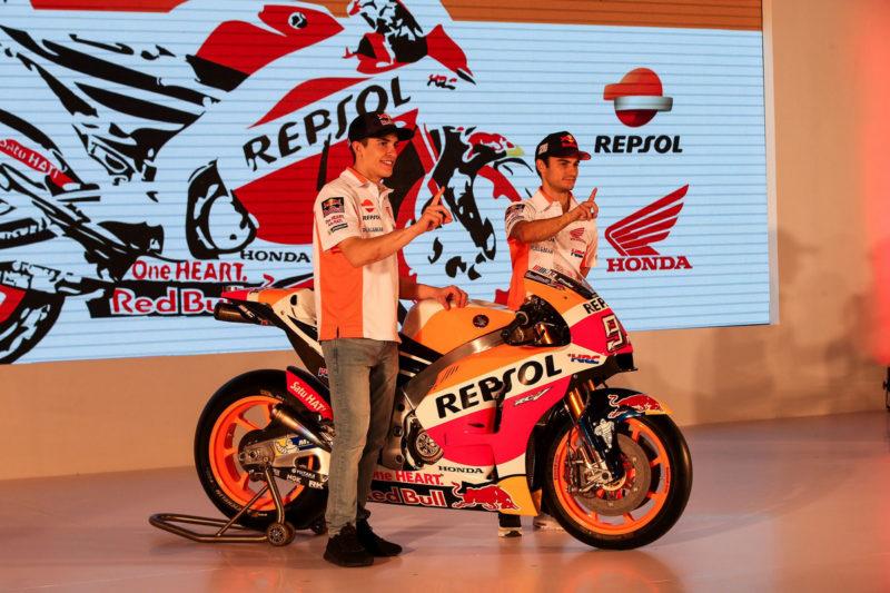 Маркес и Педроса на презентации Repsol Honda 2017