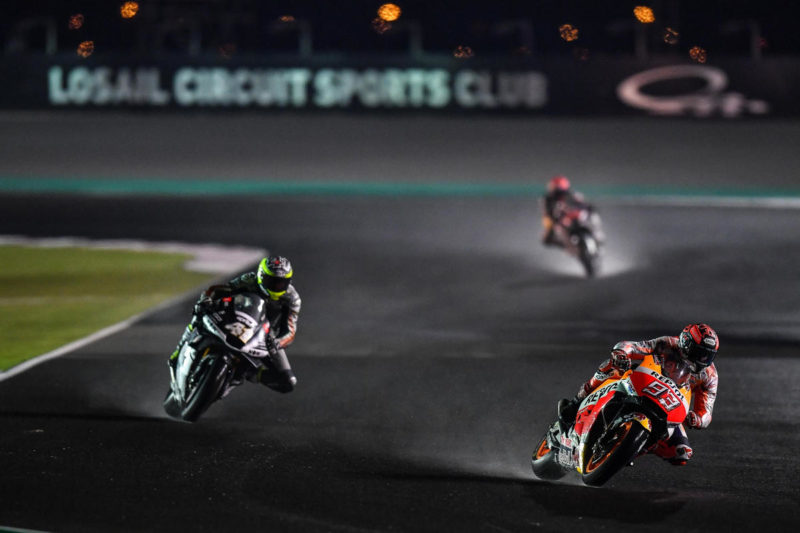 Гонщики проверили дождевые условия на Лосаиле (тесты MotoGP 2018)