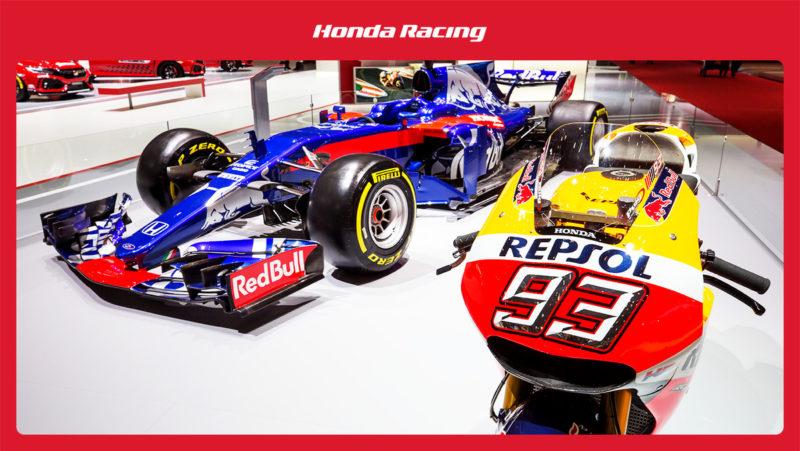 Toro Rosso STR13 и Honda RC213V на автошоу в Женеве 2018