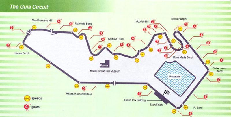 Схема трассы Гуйя в Макао