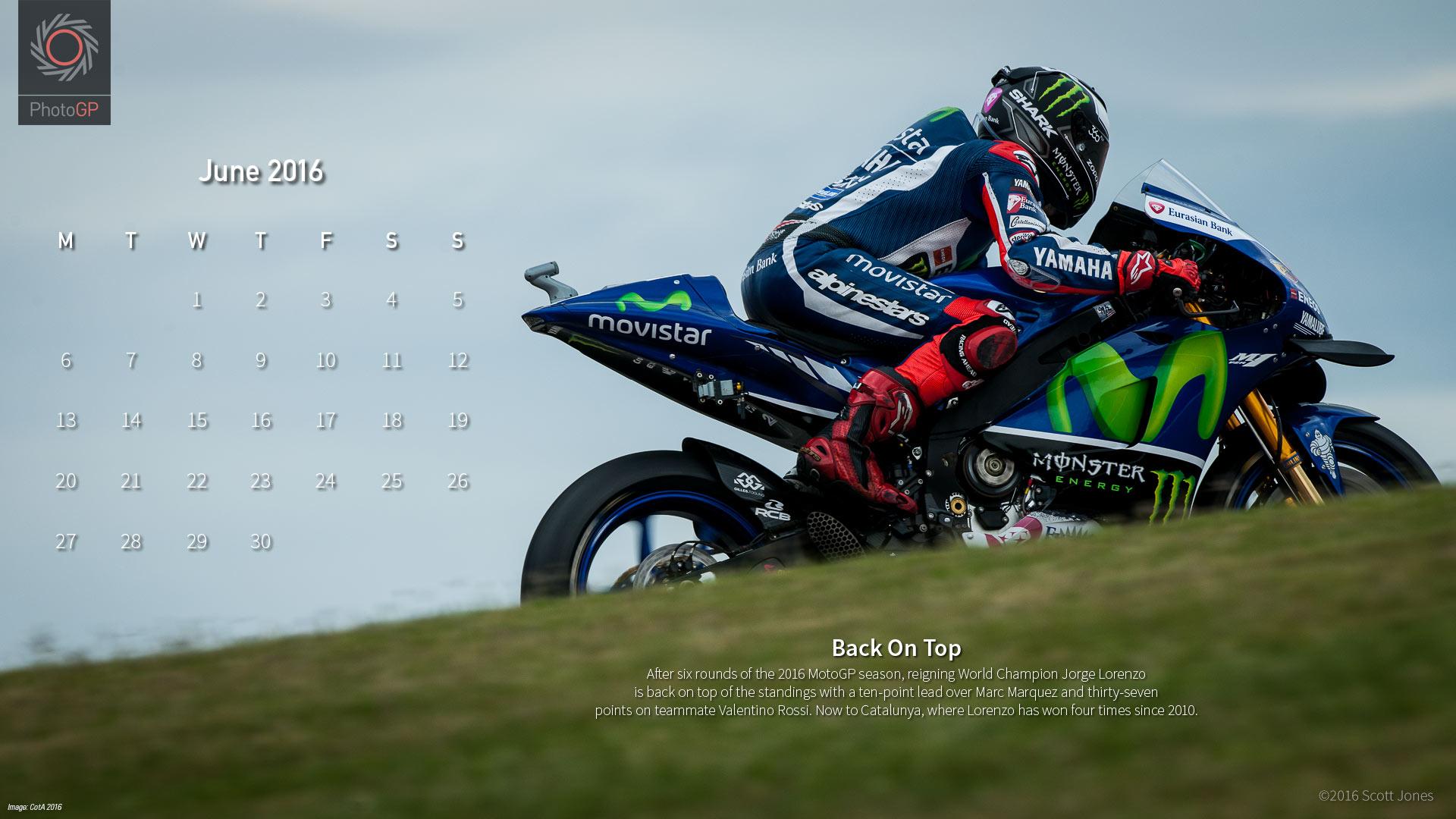 Календарь в стиле MotoGP на июнь 2016 от Скотта Джонса