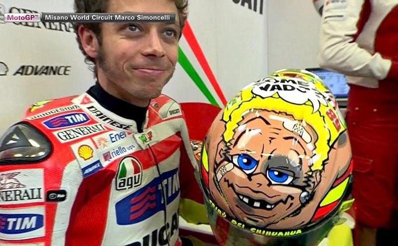 Валентино Росси в Мизано с новым дизайном шлема