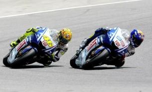 Валентино Росси и Хорхе Лоренсо на Гран-При Каталонии в 2009 году
