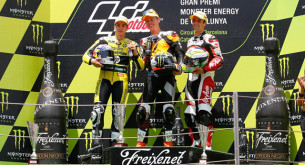 Подиум Moto2 Гран-При Катлонии 2014: Зарко, Рабат, Виньялес