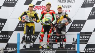 Подиум Moto2 Гран-При Нидерландов 2014: Виньялес, Вест, Каллио