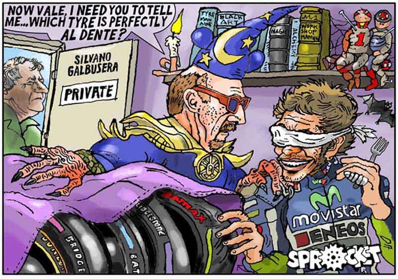 Карикатура с участием Валентино Росси, высмеивающая Лоренцо