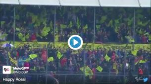 Видео: Валентино Росси празднует победу со своими болельщиками