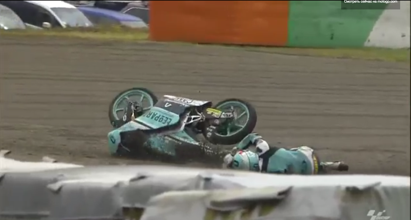 Видео: Падение Хироки Оно в гонке Moto3 Гран-При Японии 2015