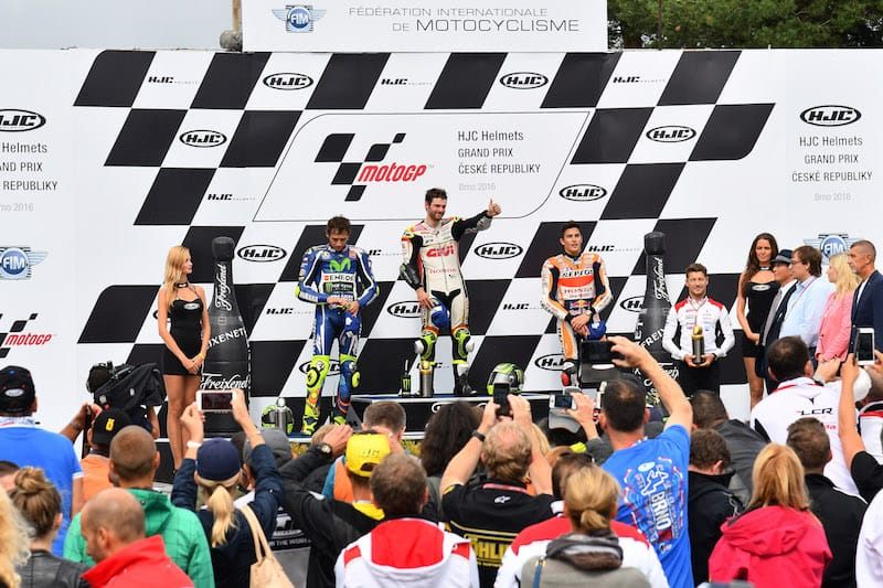 Подиум, Гран-При Чехии 2016, MotoGP, Росси, Крачлоу, Маркес