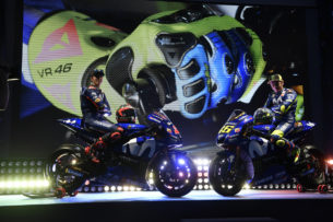 Виньялес и Росси на презентации Movistar Yamaha 2018