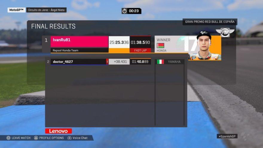 Результаты гонки ГП Испании 2020 (PS4)