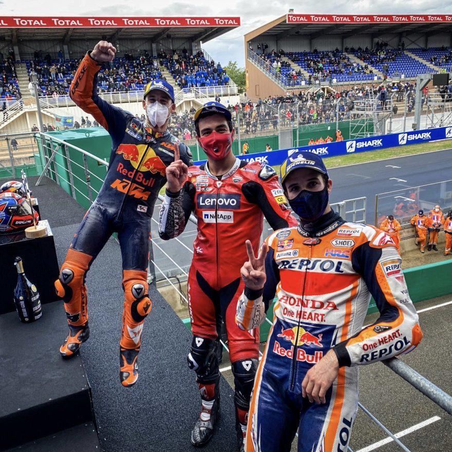 ГП Франции 2020: подиум MotoGP – Поль Эспаргаро, Данило Петруччи, Алекс Маркес