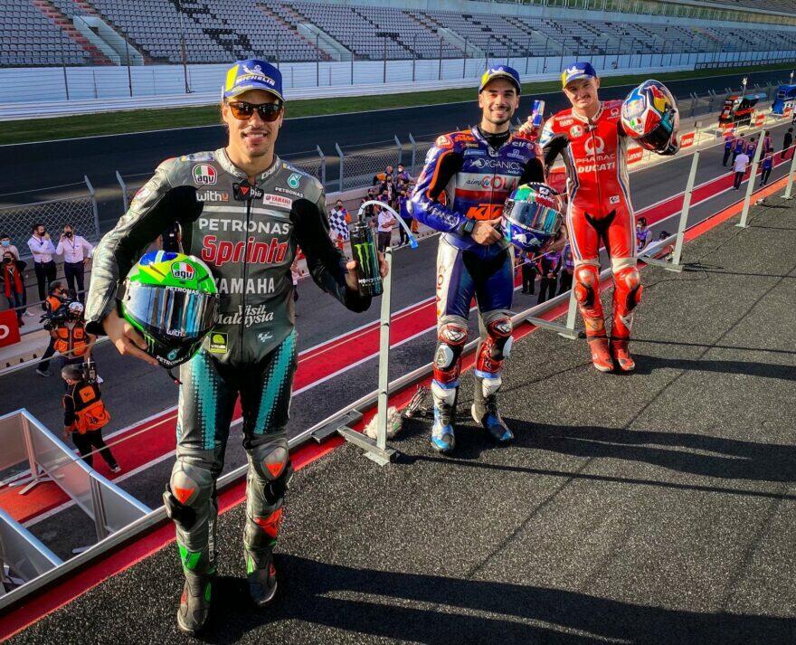ГП Португалии 2020: подиум MotoGP –Морбиделли, Оливейра, Миллер