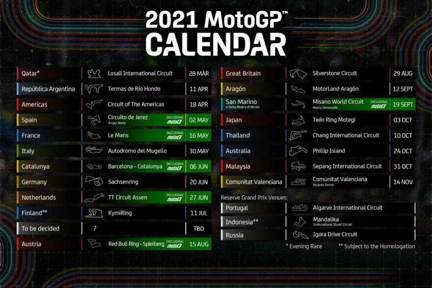 Предварительная версия календаря чемпионата MotoE 2021 года