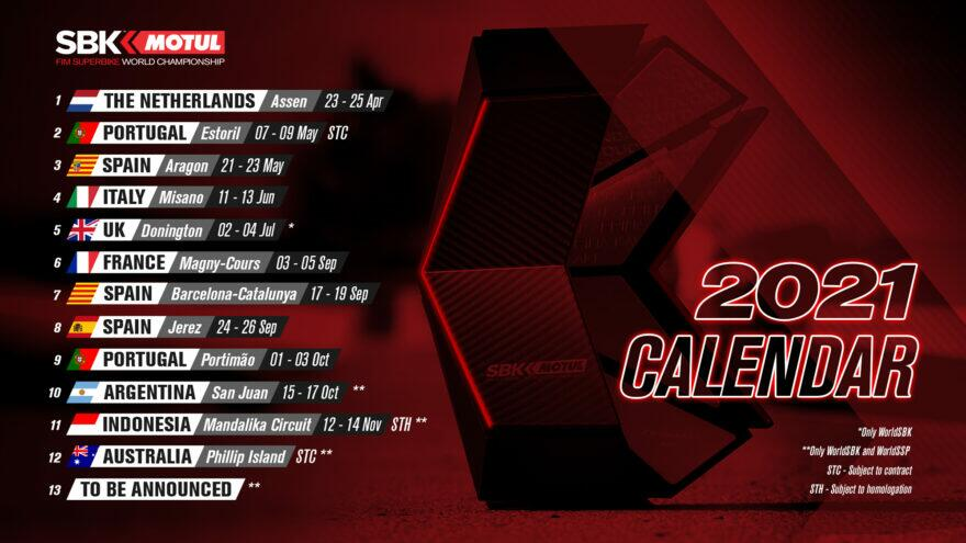 WSBK 2021: предварительная версия календаря